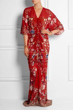 Roberto Cavalli|Floral-print silk-chiffon gown|NET-A-PORTER.COM