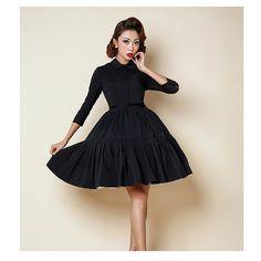 2016 Femmes Coton Rockabilly Robe Vintage de Soirée Partie Sexy Swing Robe 1950 s Tournent Vers Le Bas Élégant Noir Robes