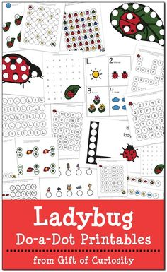 Free Ladybug Do-a-Dot Printables: 19 pages of ladybug do-a-dot worksheets for kids ages 2-6.  || Gift of Curiosity