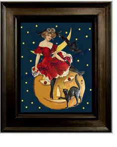 Halloween Witch Art Print 8 x 10 - Pumpkin Cat Moon - Victorian Edwardian on Etsy, $10.00
