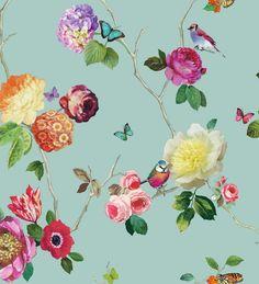 Arthouse 889800 Charmed Teal Bird Floral Bold Wallpaper Paste 2 Rolls for sale online Flores Wallpaper, Teal Wallpaper, Shabby Chic Wallpaper, Feature Wallpaper, Butterfly Wallpaper, Print Wallpaper, Beautiful Wallpaper, Wallpaper Paste, Butterfly Print
