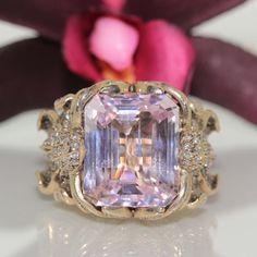 Authentic designer 18k gold Pink Kunzite & VS Diamond heavy ring 33.2grm VIDEO<- #Zolotas