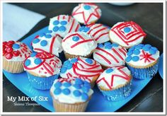 red licorice/blue M&M cupcakes; if the kids wanted one, they had to help decorate them all; motivation!