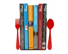Perfect for holding your cookbooks! Red bookends Fork and spoon laser cut for by DesignAtelierArticle, €37.00