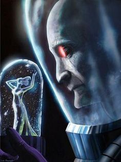 Mr Freeze, maybe minus the eyes, I'd like to think Mr Freeze can be a sophisticated and (god I cant believe Im about to say this) cool guy