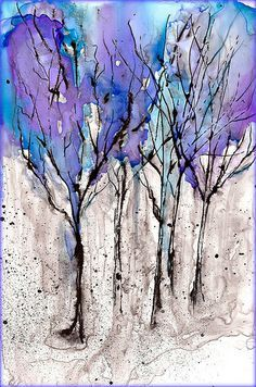 Wintry trees. Experiment with Alcohol Ink and Black Acrylic on Yupo Paper