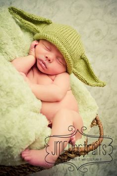 Baby Yoda Hat, Star Wars, Photo Prop, Handmade, Knitted, Made to Order, Newborn, Birth to 3 Months, 3-6 Months. $22.99, via Etsy.