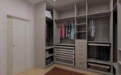 Closet - Interior Melamina Cancun - Frentes Gavetas, em Aluminio e Vidro Fosco