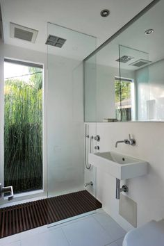 bath remodel by XP & Architecture. Love the clear glass shower panel - makes the small bathroom look larger Bathroom Plans, Diy Bathroom Remodel, Bathroom Renos, Bathroom Wall Decor, Bathroom Layout, Bath Remodel, Bathroom Interior Design, Bathroom Ideas, Shiplap Bathroom