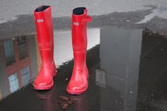 """Thrifted women's red rubber rain boots."" Another awesome find on Brooke's beautiful blog, Secondhand Goods."