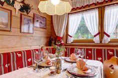 Restaurant in the Hotel Glockenstuhl in Gerlos Tirol Austria, Alpine Chalet, Alpine Style, Case, Home Renovation, Valance Curtains, Red And White, Europe, Restaurant