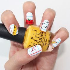10 Back-to-School Nail Designs That Are All About School Spirit. New mani, who dis? # back to school nails These School-Themed Nails Will Make Your Kid Ready for Her First Day Girls Nail Designs, Pretty Nail Designs, Nail Art Designs, School Nail Art, Back To School Nails, Nail Manicure, Diy Nails, Cute Nails, Pedicure