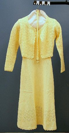 Yellow Mother Of The Bride Custom Made Dress With Sweater And Belt. Circa 1979. Missouri History Museum. collections.mohistory.org. #vintagewedding #1970sstyle #1970swedding