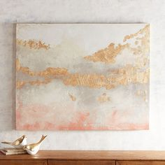 Open to your own interpretation, our expressive blending of color, shape and light suggests a city in the distance. Created on canvas and stretched on a eucalyptus frame, this soothing abstract is a worthy addition to your wall.