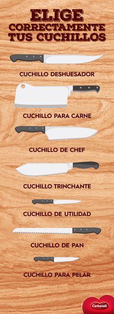 Elige correctamente tus cuchillos y olvídate de batallar con algún ingrediente a la hora de cocinar.  #Cocina #Cooking #Food #Comida