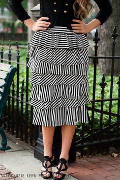 Striped Ruffle Skirt--So Cute(: