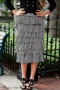 Striped Ruffle Skirt--So Cute(: