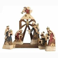 """6-Piece Religious Holy Family Christmas Nativity Set with Stable 9"""""""