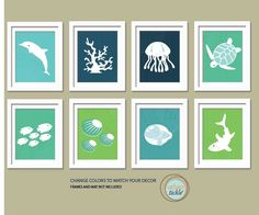 Sea Print Set. Ocean Gallery. Set of 8, 5X7, Nursery decor, Boy or Girl room decor, Birthday Gift, Sea world Artwork. $42.00, via Etsy.