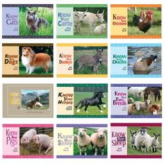 The books are Know Your Cats Cattle, Chickens, Donkeys, Ducks, Horses, Pigs, Rare Breeds, Dogs, Sheep, More Sheep and the latest book in the series - Know Your Goats.