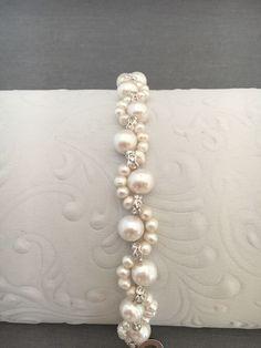 Delicate Bridal Pearl Bracelet with Crystal Rhinestones