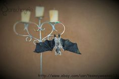 OOAK Dollhouse Miniature Pet Bat Handflocked Animal Wings Fold n Head Turns 1:12 #Handmade