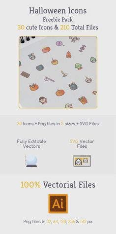 With this Free Halloween icons pack in cute style you get 30 cute pumpkin, zombies, candies and monster icon. Halloween Icons, Cute Pumpkin, Cute Icons, Vector File, Free, Free Icon, Icons