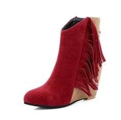 Women's High-Heels Frosted Low-Top Assorted Color Zipper Boots