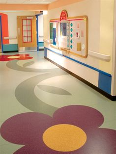 Brighten up a hospital with custom cut Relay RE from Mannington Commercial.