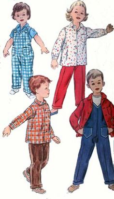 Vintage 1950s Simplicity 1786 Toddlers Playtime Overalls and Shirt UNISEX 50s Sewing Pattern Size 1 UNCUT by sandritocat on Etsy