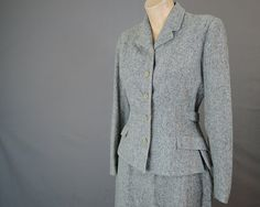 Vintage 1950s Tailored Tweedy Black and White Wool Suit - fits 38 bust, 26 waist - Lady Redlyn - $75.00  by dandelionvintage