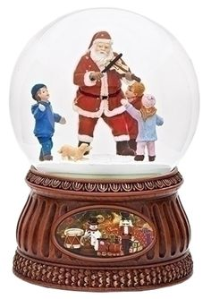 Roman 7' Musical Santa Gltrdome with Fiddle Rotating Kid 100mm Dome -- Check this awesome image  : Home Decor Snow Globes