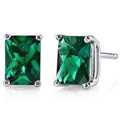14 Karat White Gold Radiant Cut 1.75 Carats Created Emerald Stud Earrings Peora http://www.amazon.com/dp/B00EDS5H6M/ref=cm_sw_r_pi_dp_WiTmvb068CXQF