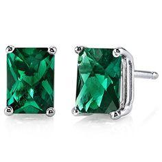 14 Karat White Gold Radiant Cut 1.75 Carats Created Emerald Stud Earrings Peora http://www.amazon.com/dp/B00EDS5H6M/ref=cm_sw_r_pi_dp_WiTmvb068CXQF