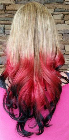Blonde red black ombre dip dyed hair color