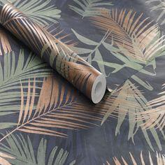 Boutique Papier Peint Support Intissé Jungle Glam Gravure 1005 X 52 Cm Bleu & Vert - Taille : Taille Unique