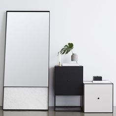 T.D.C   Urban Couture new Italian Cararra Marble and Black Steel Floor Mirror
