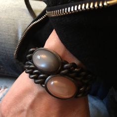 Hemmerle Pair of Blackened Steel Moonstone Gold Bracelets at 1stdibs