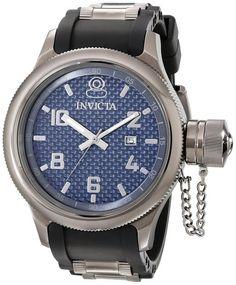 Invicta 0059 Men's Watch Russian Diver Dark Blue Textured Dial With Black Rubber Strap