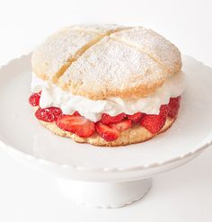 So summery. A very light strawberry shortcake that is filled with sliced berries and whipped cream.