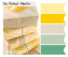 Butter yellow, bright yellow, taupe, sage green, mint green.