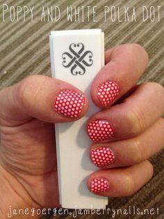 Poppy and white polka dot Jamberry Nails
