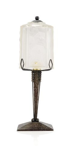 AN ART DECO WROUGHT-IRON AND GLASS TABLE LAMP -  CIRCA 1930