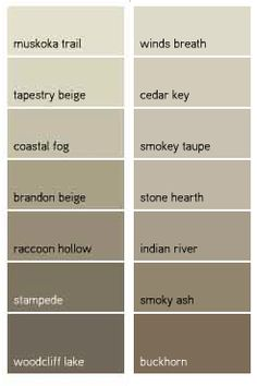 Benjamin Moore Favorite Taupes - raccoon hollow, indian river, brandon beige, stampede