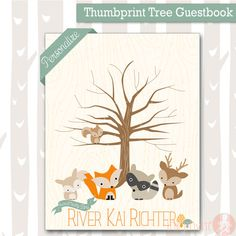 Add a special touch to your Sweet Woodland Baby Shower Celebration with this Personalized Thumbprint guest book. It is a great way to remember who shared your special day with you and its a wonderful keepsake with baby-to-bes name on it! ***This is a digital product, no physical item will