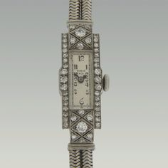 Swiss vintage ladies platinum and diamond wrist watch by Shreve & Co. with gold rope band, 17 jewel movement by Freco and restored original dial, circa Cal X 5 Wrist Watches, Big Ben, Vintage Ladies, Jewels, Band, Diamond, Watches, Sash, Jewerly