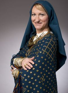 Latvian Minister of Culture Dace Melbārde wearing a reproduction of a Late Iron Age Latgallian (Baltic) outfit.