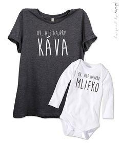 Súprava dámske tričko a detské body/tričko DR/KR KÁVA vs. MLIEKO