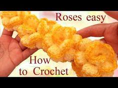 Como hacer rosas continuas con Crochet aprende fácil a tejer - How to crochet a flower - YouTube