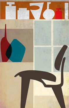 "side eames lcw  digital art, size: 11""x17""  printed on 80 lb paper in matte finish  hand signed and dated  $39"